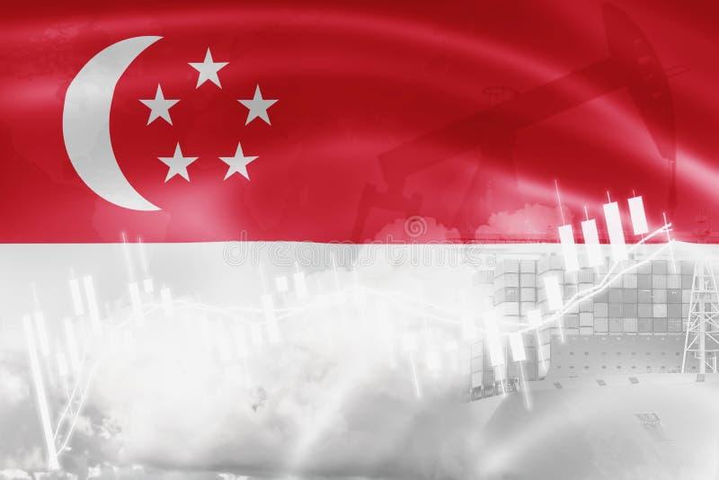 Drapeau de Singapour, marché boursier, économie d'échange et commerce, production de pétrole, navire porte-conteneurs dans des af illustration stock