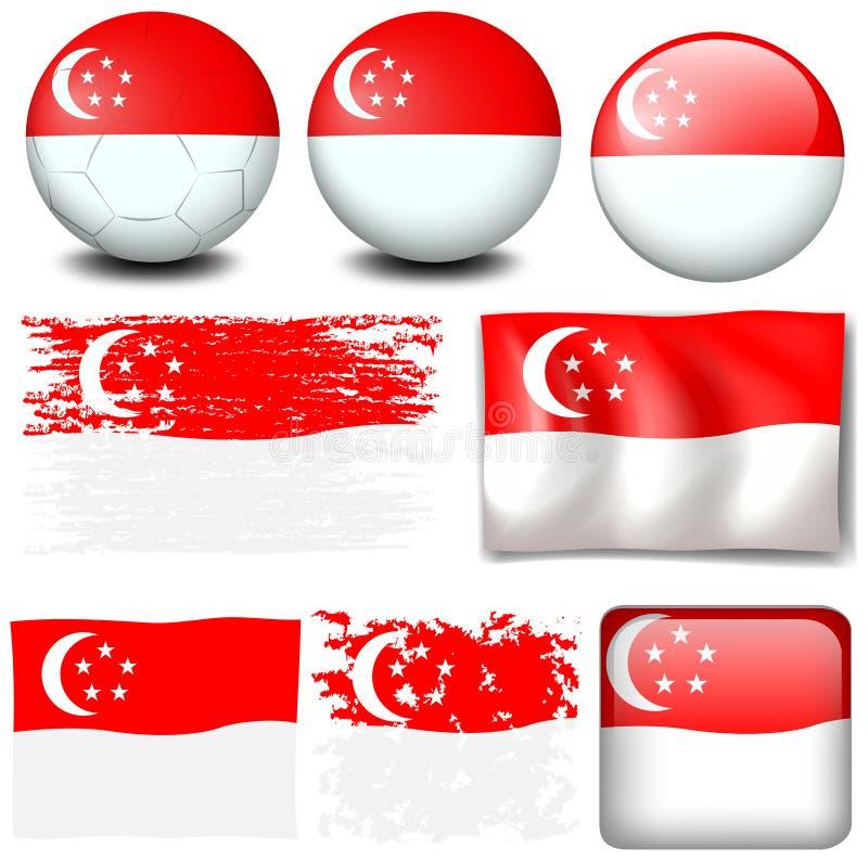 Drapeau de Singapour sur différents articles illustration stock