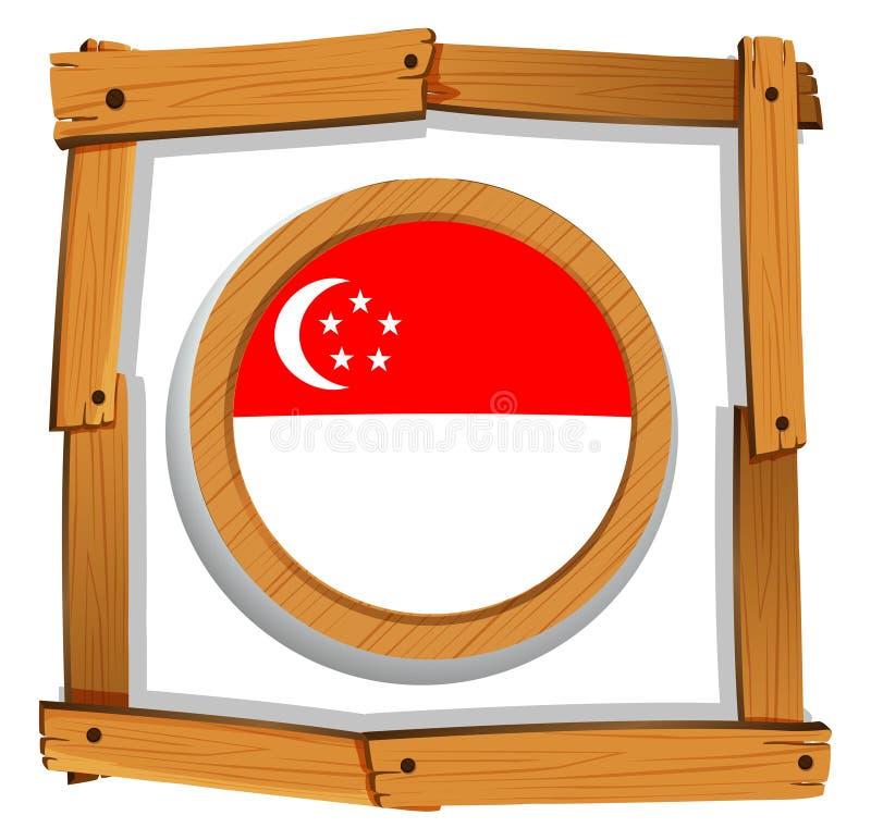 Drapeau de Singapour sur l'insigne rond illustration de vecteur