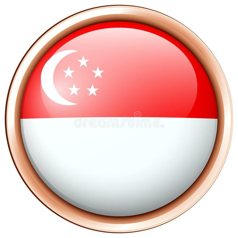 Drapeau de Singapour sur l'insigne rond illustration libre de droits