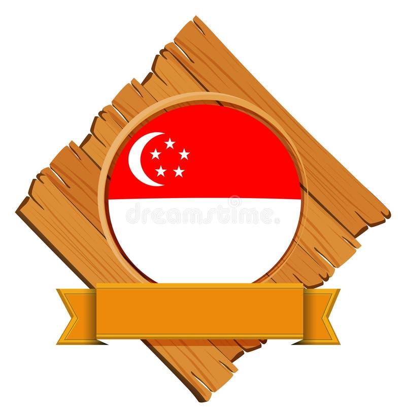 Drapeau de Singapour sur le conseil en bois illustration stock