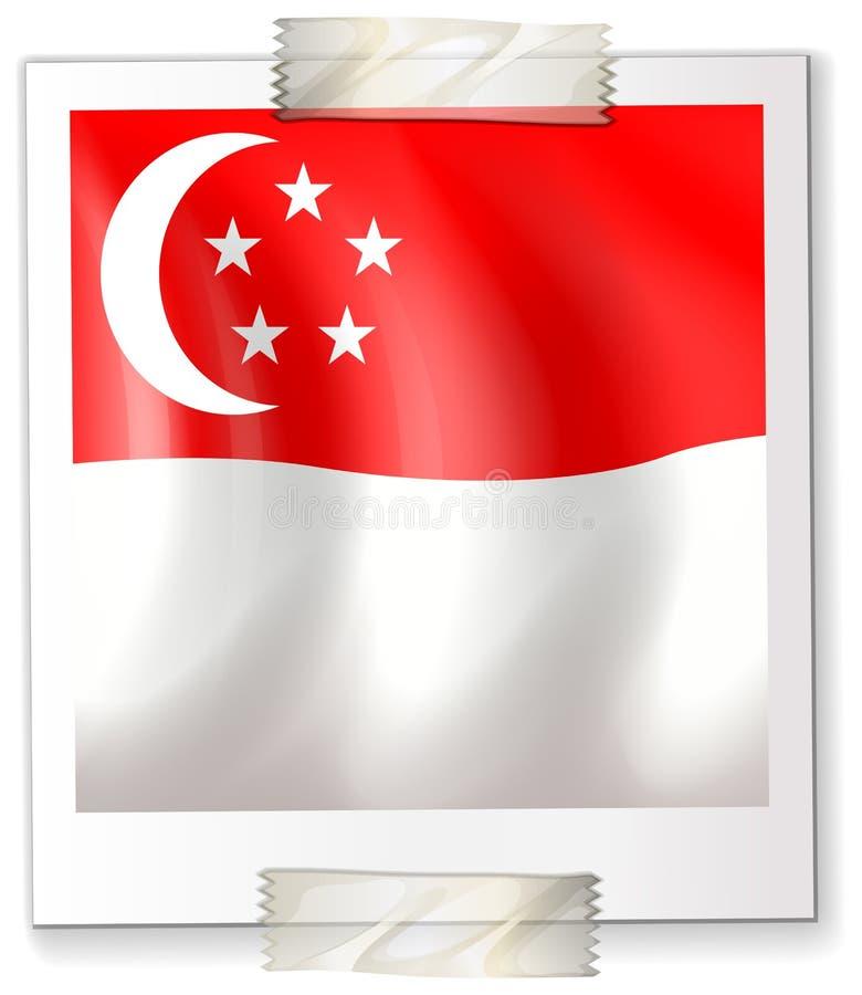 Drapeau de Singapour sur le papier carré illustration libre de droits