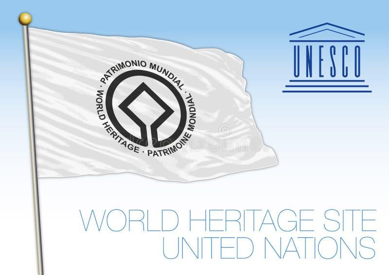 Drapeau de site de patrimoine mondial, l'UNESCO, organisation des Nations Unies illustration libre de droits