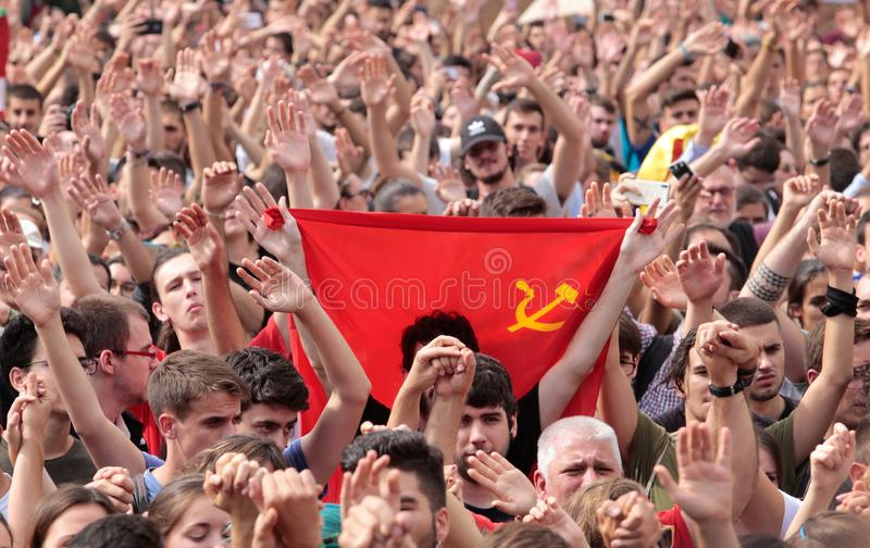 Drapeau de Soviétique de démonstration d'étudiants de Barcelone image stock