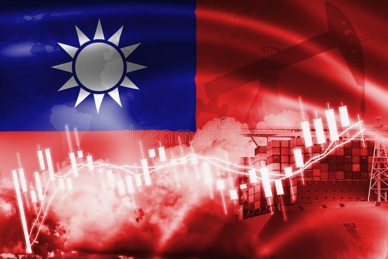 Drapeau de Taïwan, marché boursier, économie d'échange et commerce, production de pétrole, navire porte-conteneurs dans l'exporta illustration de vecteur