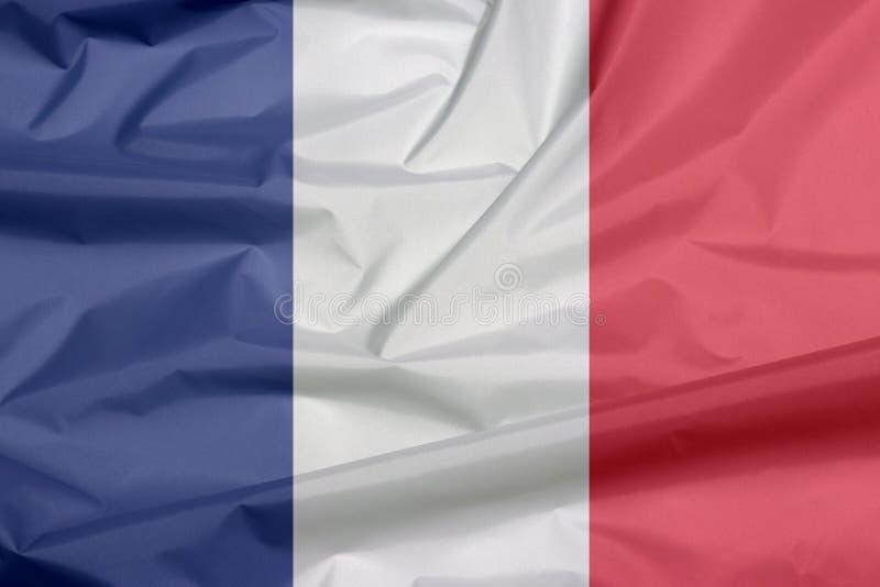 Drapeau de tissu des Frances Pli de fond français de drapeau image stock