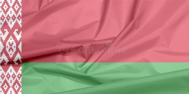 Drapeau de tissu du Belarus Pli de fond biélorusse de drapeau illustration stock