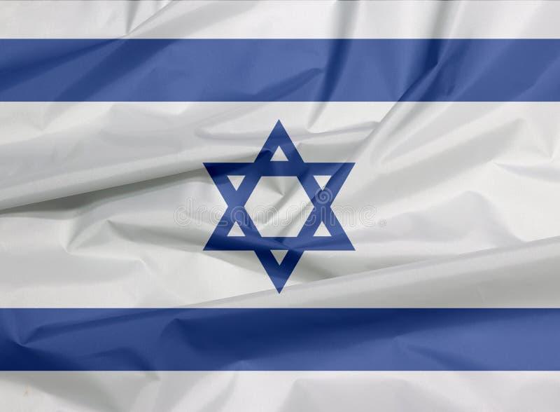 Drapeau de tissu de l'Israël Pli de fond israélien de drapeau illustration libre de droits