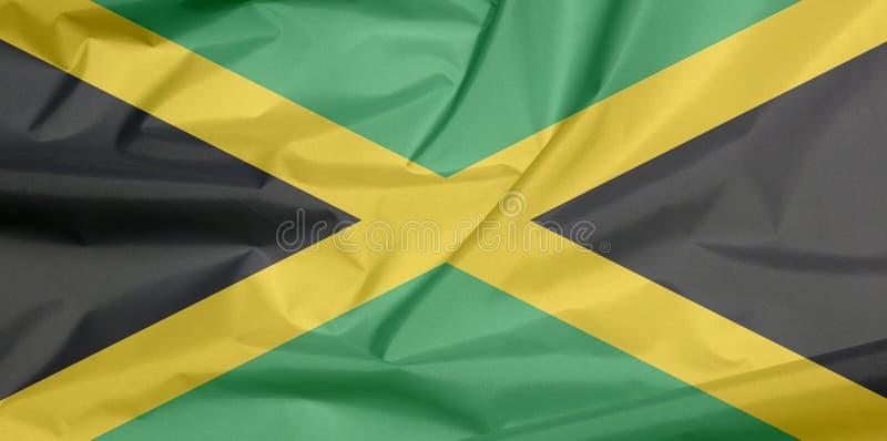Drapeau de tissu de la Jamaïque Pli de fond jamaïcain de drapeau illustration stock
