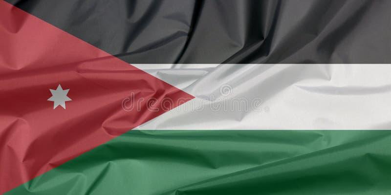 Drapeau de tissu de la Jordanie Pli de fond jordanien de drapeau photos libres de droits