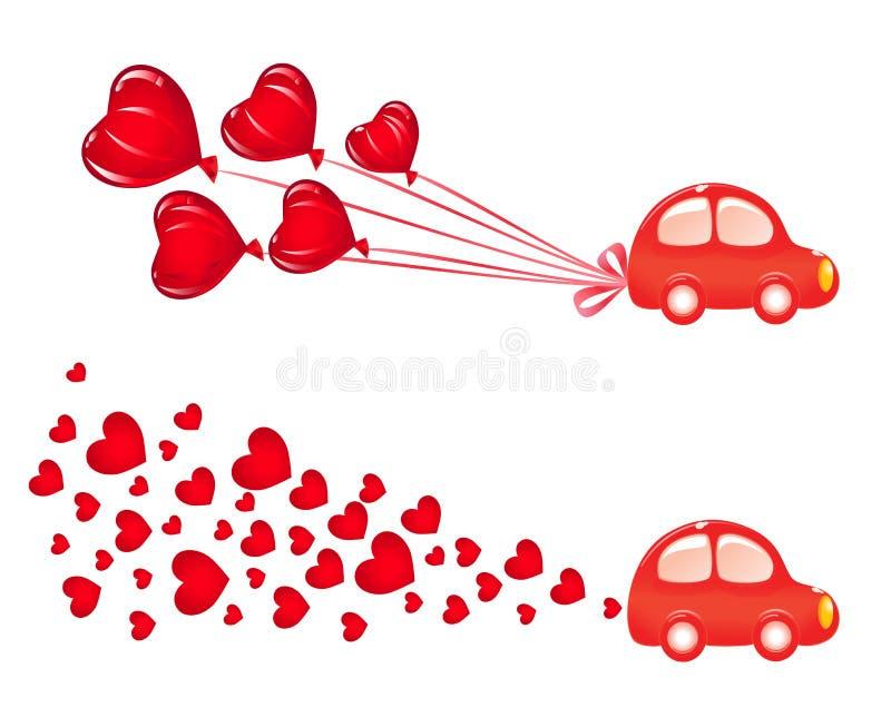 Drapeau de Valentin avec le véhicule illustration de vecteur