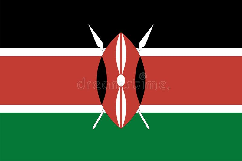 Drapeau de vecteur du Kenya 2:3 de proportion Drapeau national kenyan La r?publique du Kenya illustration stock