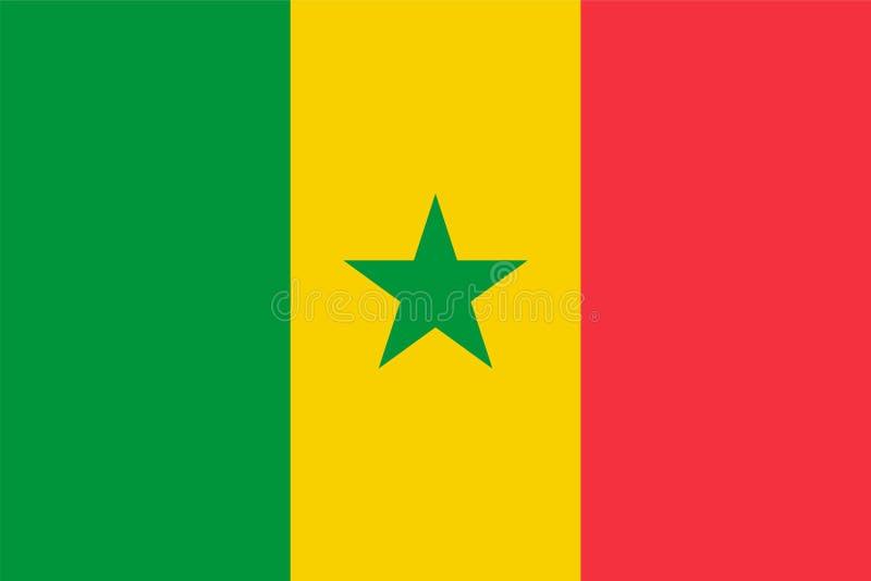 Drapeau de vecteur du Sénégal 2:3 de proportion Drapeau national sénégalais R?publique du S?n?gal illustration libre de droits