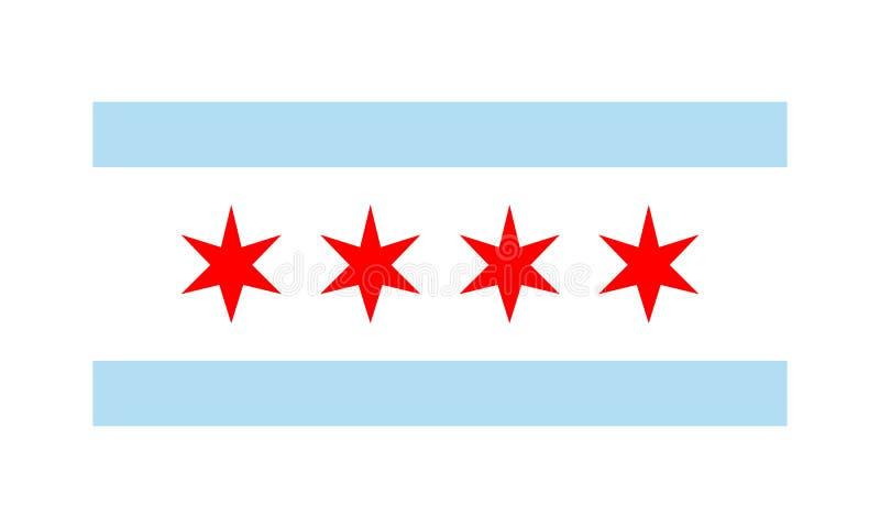 Drapeau de vecteur de l'illustration plate simple de conception de Chicago d'isolement sur le fond blanc illustration stock
