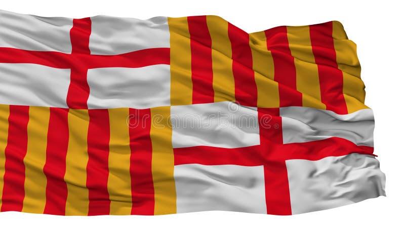Drapeau de ville de Barcelone, Espagne, d'isolement sur le fond blanc illustration libre de droits