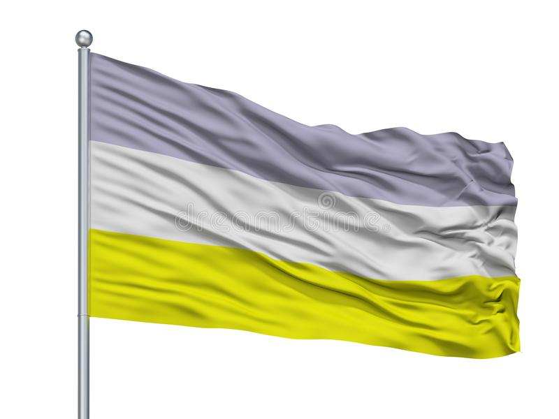 Drapeau de ville de Bosconia sur le mât de drapeau, Colombie, Cesar Department, d'isolement sur le fond blanc illustration stock