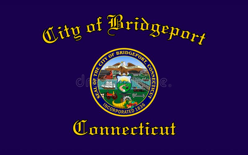 Drapeau de ville de Bridgeport dans le Connecticut, Etats-Unis photos libres de droits