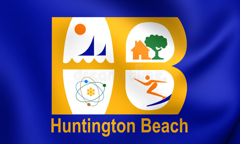 Drapeau de ville de Huntington Beach, la Californie, Etats-Unis illustration stock