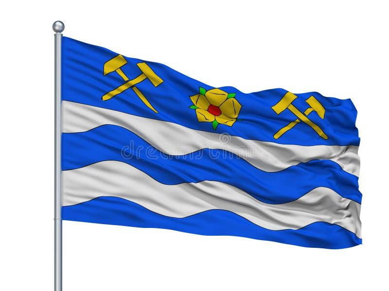 Drapeau de ville de Havirov sur le mât de drapeau, République Tchèque, d'isolement sur le fond blanc illustration libre de droits