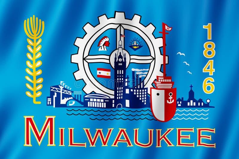 Drapeau de ville de Milwaukee, le Wisconsin USA illustration libre de droits