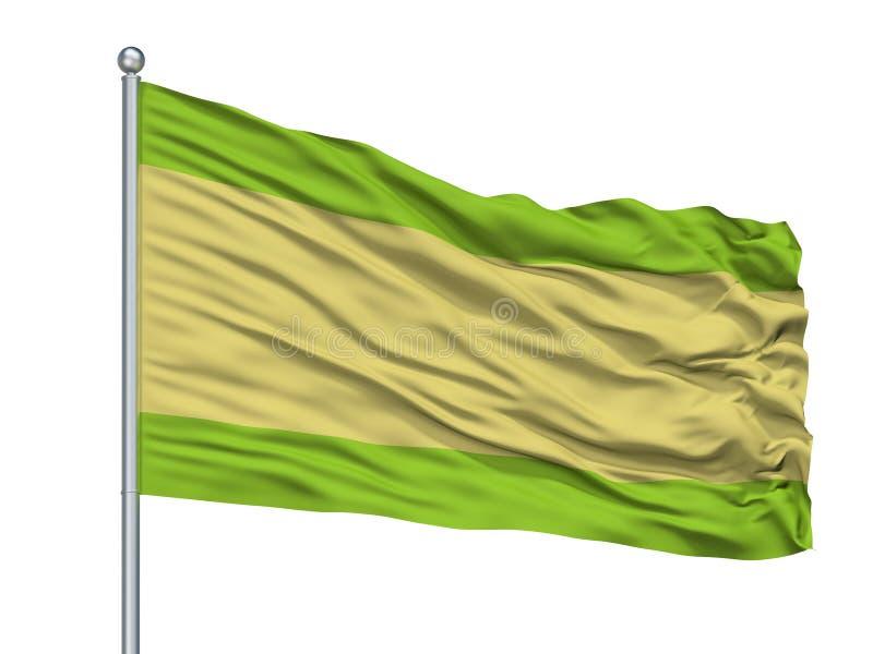 Drapeau de ville de Pueblobello sur le mât de drapeau, Colombie, Cesar Department, d'isolement sur le fond blanc illustration stock