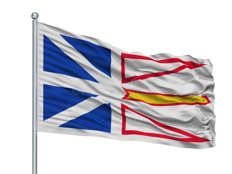 Drapeau de ville de Terre-Neuve et de Labrador sur le mât de drapeau, Canada, d'isolement sur le fond blanc illustration de vecteur