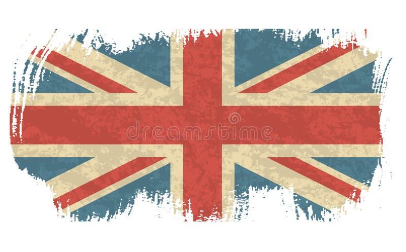 Drapeau de vintage d'illustration de vecteur du R-U Drapeau britannique sale Fond grunge de drapeau de la Grande-Bretagne de conc illustration stock