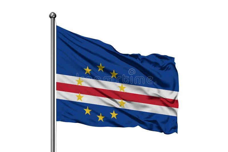 Drapeau des îles de Cap Vert ondulant dans le vent, fond blanc d'isolement Drapeau cap-verdien images libres de droits