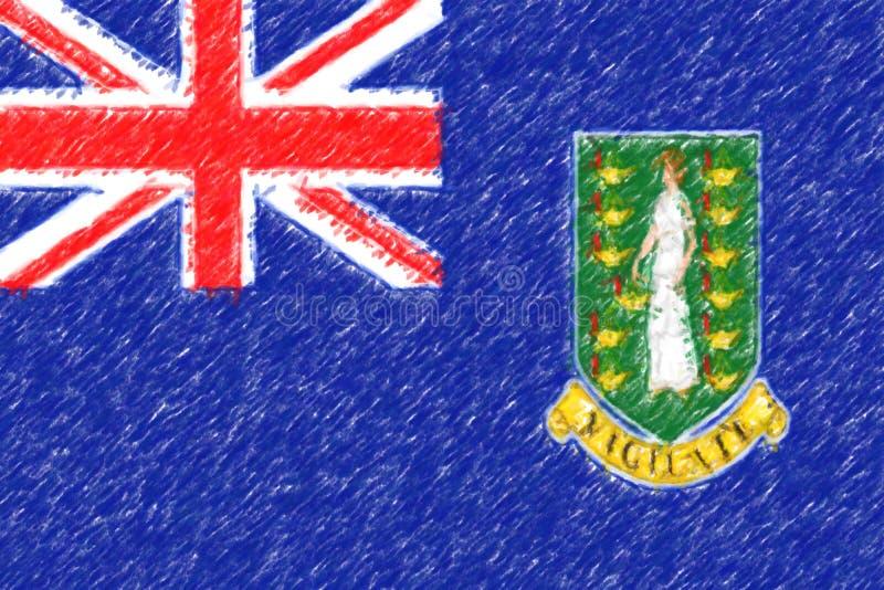 Drapeau des Îles Vierges, gigaoctet de texture du fond o, crayon de couleur E-F photographie stock libre de droits