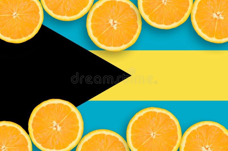 Drapeau des Bahamas dans le cadre horizontal de tranches d'agrumes photo stock