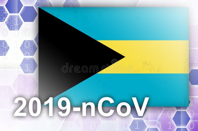Drapeau des Bahamas et composition abstraite numérique futuriste avec inscription 2019-nCoV Concept d'éclosion de la maladie de C illustration de vecteur