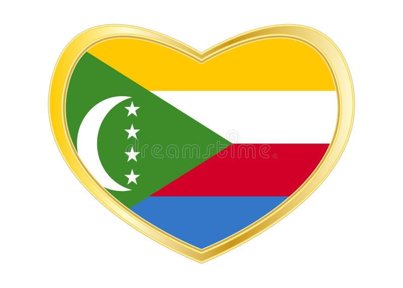 Drapeau des Comores dans la forme de coeur, cadre d'or illustration de vecteur