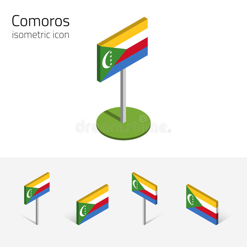 Drapeau des Comores, icônes plates isométriques du vecteur 3D illustration libre de droits
