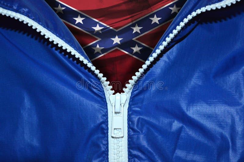 Drapeau des confédérés sous la tirette déballée photo libre de droits