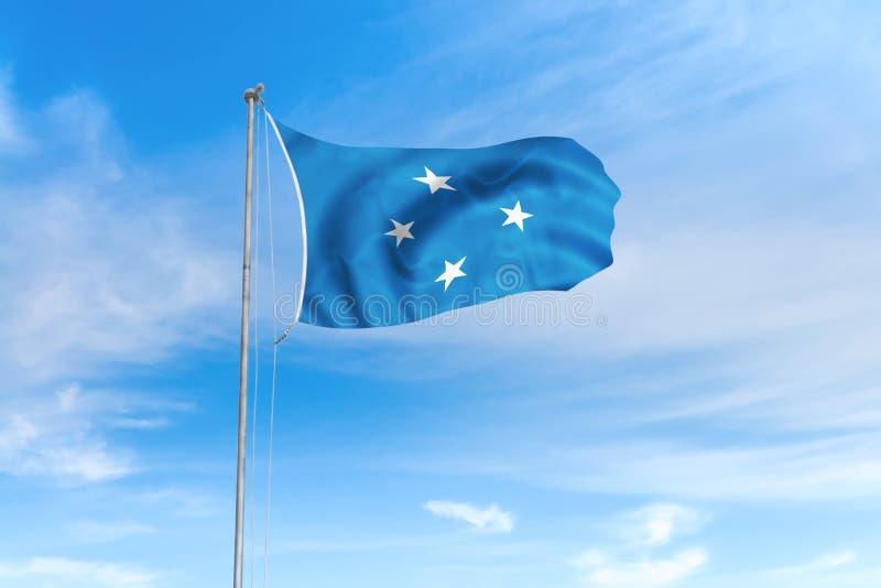 Drapeau des Etats fédérés de Micronésie au-dessus de fond de ciel bleu illustration libre de droits