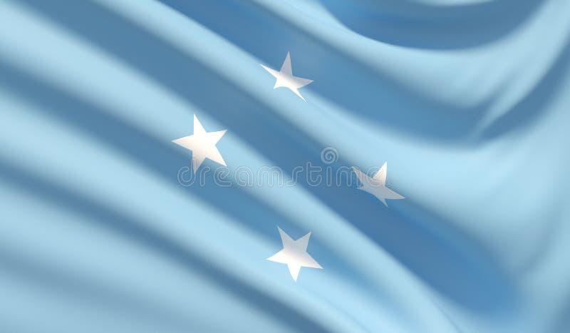 Drapeau des Etats fédérés de Micronésie Texture fortement détaillée ondulée de tissu illustration 3D illustration libre de droits