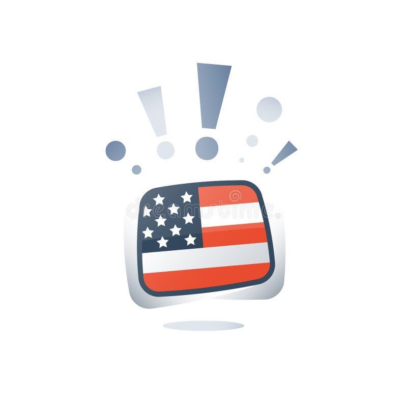 Drapeau des Etats-Unis, anglais américain, étude linguistique, cours en ligne, programme de préparation, amélioration de vocabula illustration libre de droits