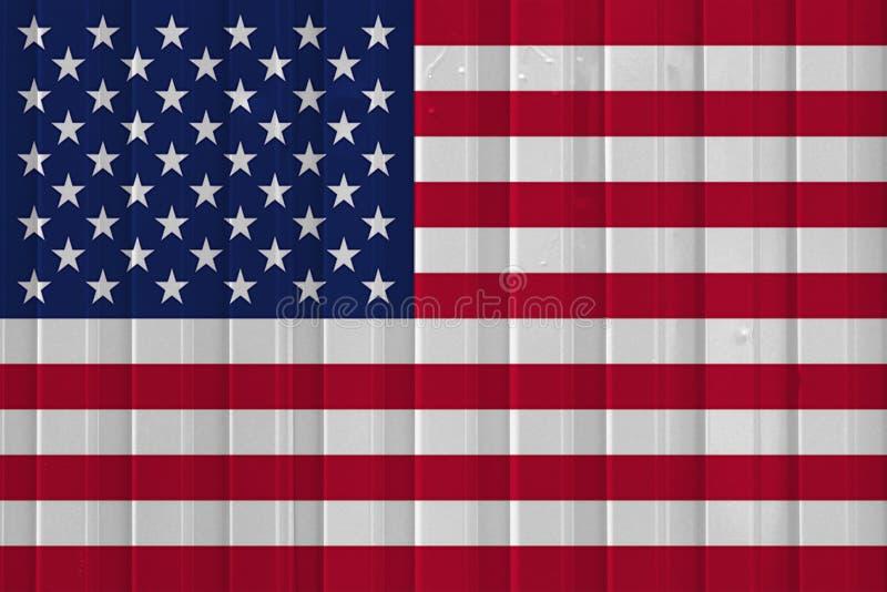 Drapeau des Etats-Unis au-dessus de la surface de conteneur : images stock
