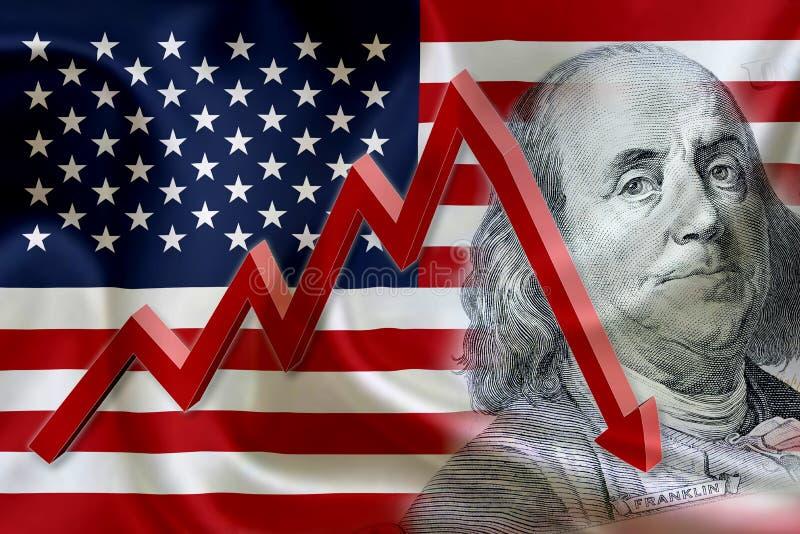 Drapeau des Etats-Unis d'Amérique avec le visage de Benjamin Franklin photos libres de droits