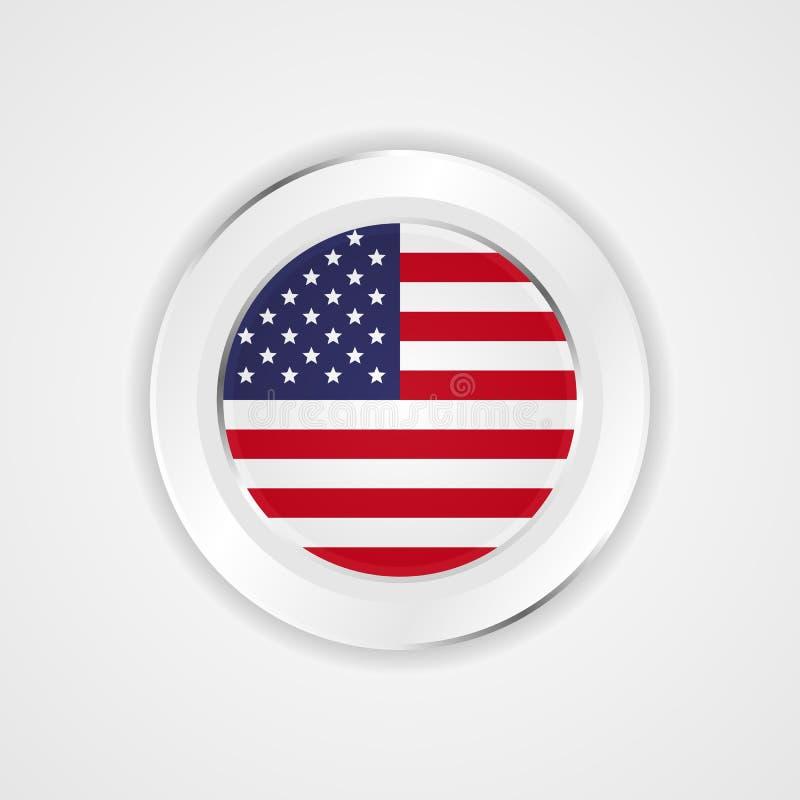 Drapeau des Etats-Unis d'Amérique dans l'icône brillante illustration libre de droits