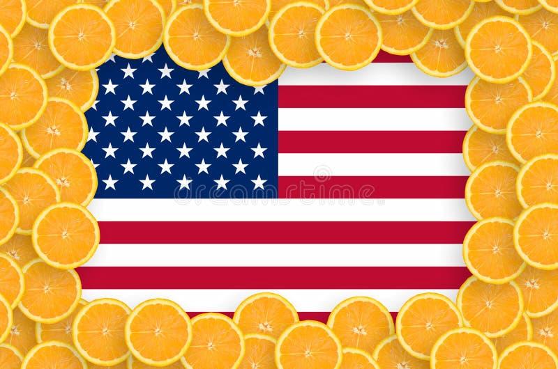 Drapeau des Etats-Unis d'Amérique dans le cadre frais de tranches d'agrumes illustration stock