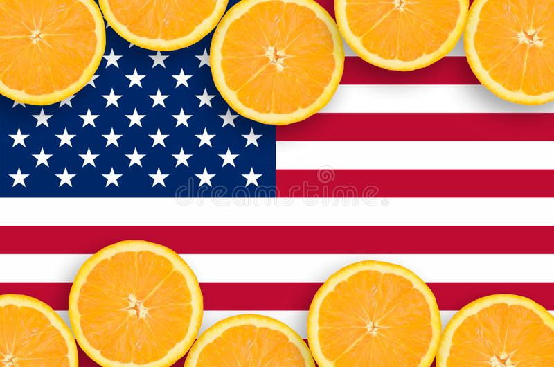 Drapeau des Etats-Unis d'Amérique dans le cadre horizontal de tranches d'agrumes illustration de vecteur