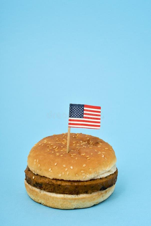 Drapeau des Etats-Unis dans un hamburguer image libre de droits