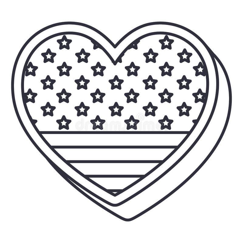 Drapeau des Etats-Unis de silhouette à l'intérieur de conception de coeur illustration libre de droits