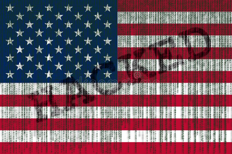 Drapeau des Etats-Unis entaillé par données Drapeau américain avec le code binaire illustration stock