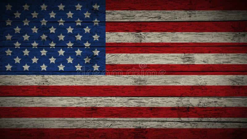 Drapeau des Etats-Unis peints sur de vieux conseils en bois Drapeau en bois des Etats-Unis Fond abstrait de drapeau drapeau grung illustration de vecteur