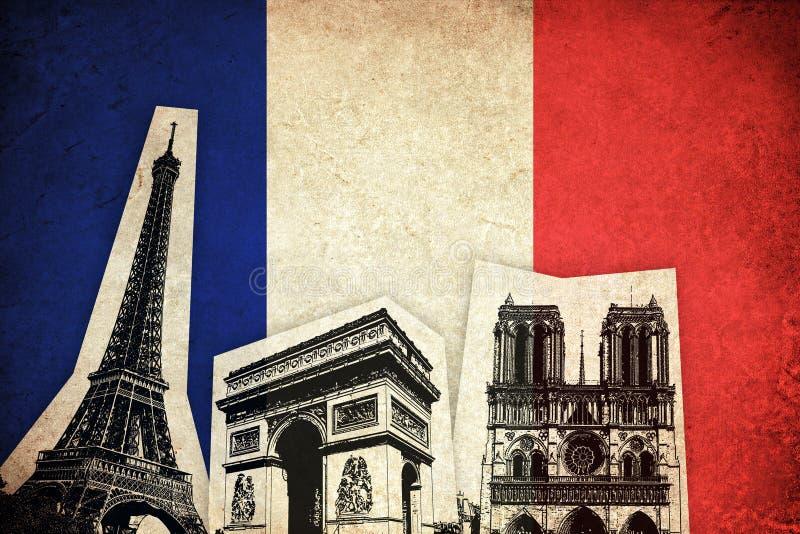 Drapeau des Frances avec le monument : Tour Eiffel illustration de vecteur