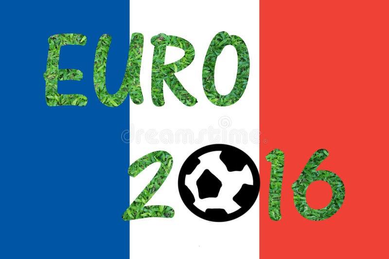 Drapeau des Frances avec le mot EURO 2016 photographie stock libre de droits