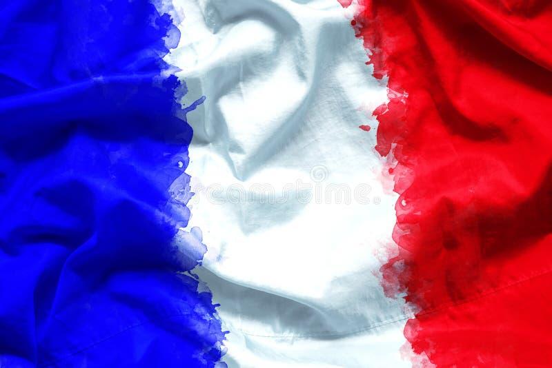 Drapeau des Frances république Française par le pinceau d'aquarelle sur le tissu de toile, style grunge images stock