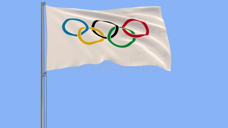 Drapeau des Jeux Olympiques sur un mât de drapeau flottant dans le vent sur un fond bleu, rendu 3d photos libres de droits